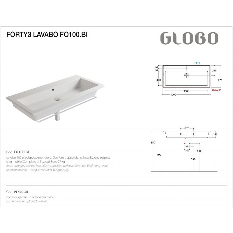 Lavabo Sospeso Ceramica Globo Forty3 100x47 FO100.BI