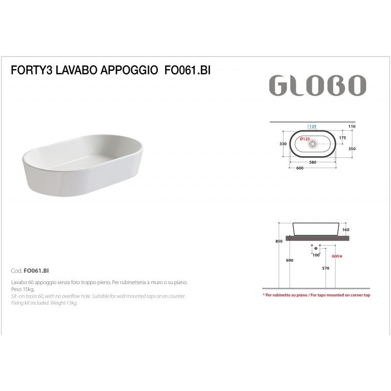Lavabo da Appoggio Ceramica Globo Forty3 60X35 FO061.BI