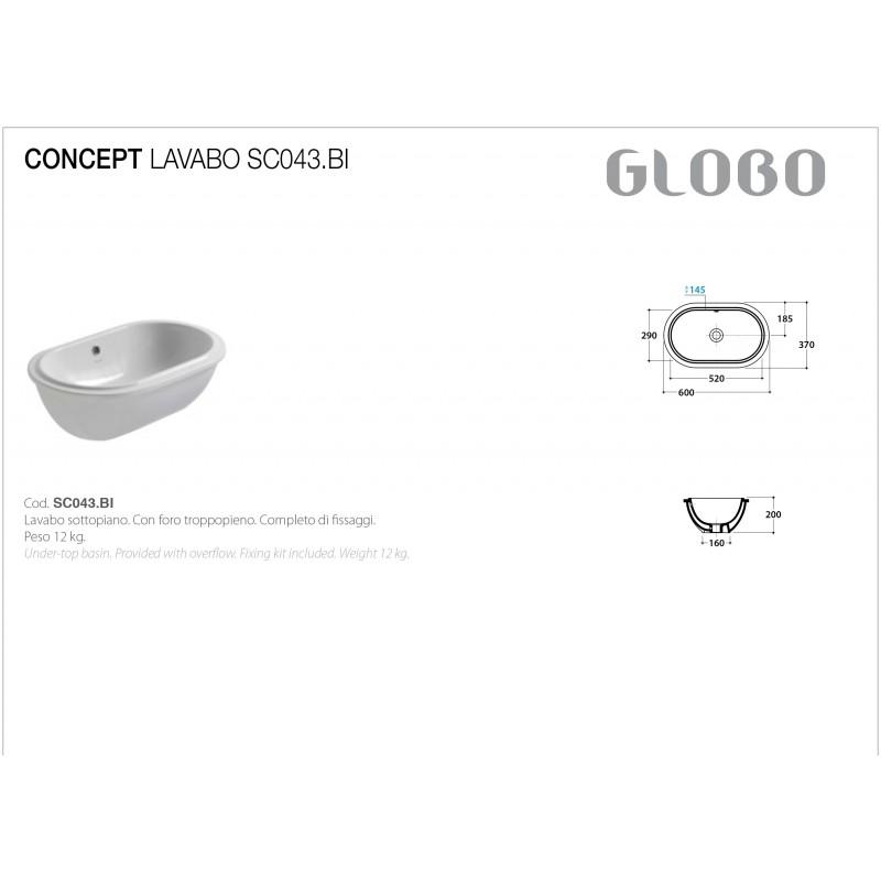 Lavabo Sottopiano Ceramica Globo Forty3 60x37 SC043.BI