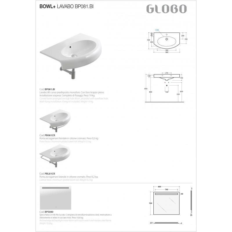 Lavabo Sospeso Ceramica Globo Bowl+ 80x50 Curvo BP081.BI