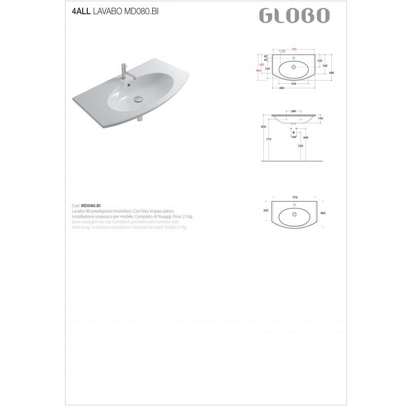 Lavabo Sospeso Ceramica Globo 4All 80x48 MD080.BI