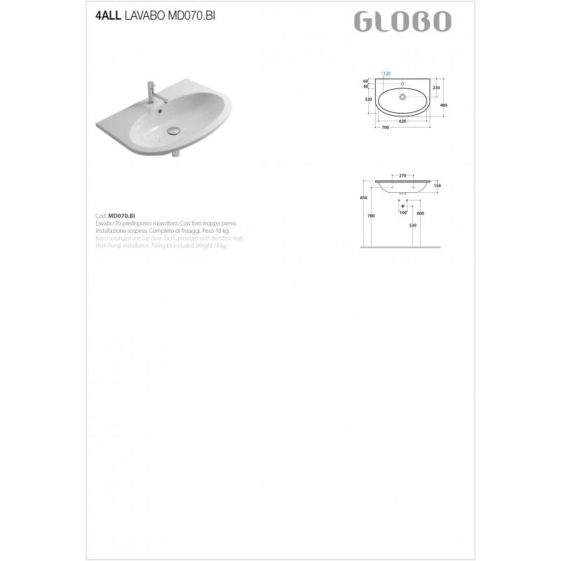 Lavabo Sospeso Ceramica Globo 4All 70x48 MD070.BI