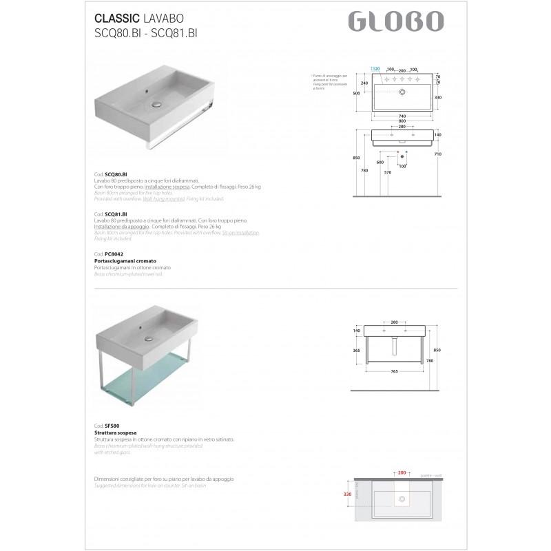 Lavabo Sospeso Ceramica Globo Classic 80x50 SCQ80.BI