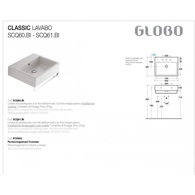 Lavabo Sospeso Ceramica Globo Classic 60x50 SCQ60.BI