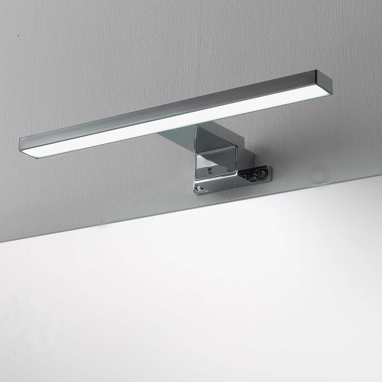 Lampada a led per specchio da bagno cm 30 cromata per applicazione a muro