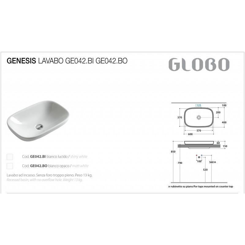 Lavabo Appoggio Ceramica Globo Genesis 60X40 GE043.BI