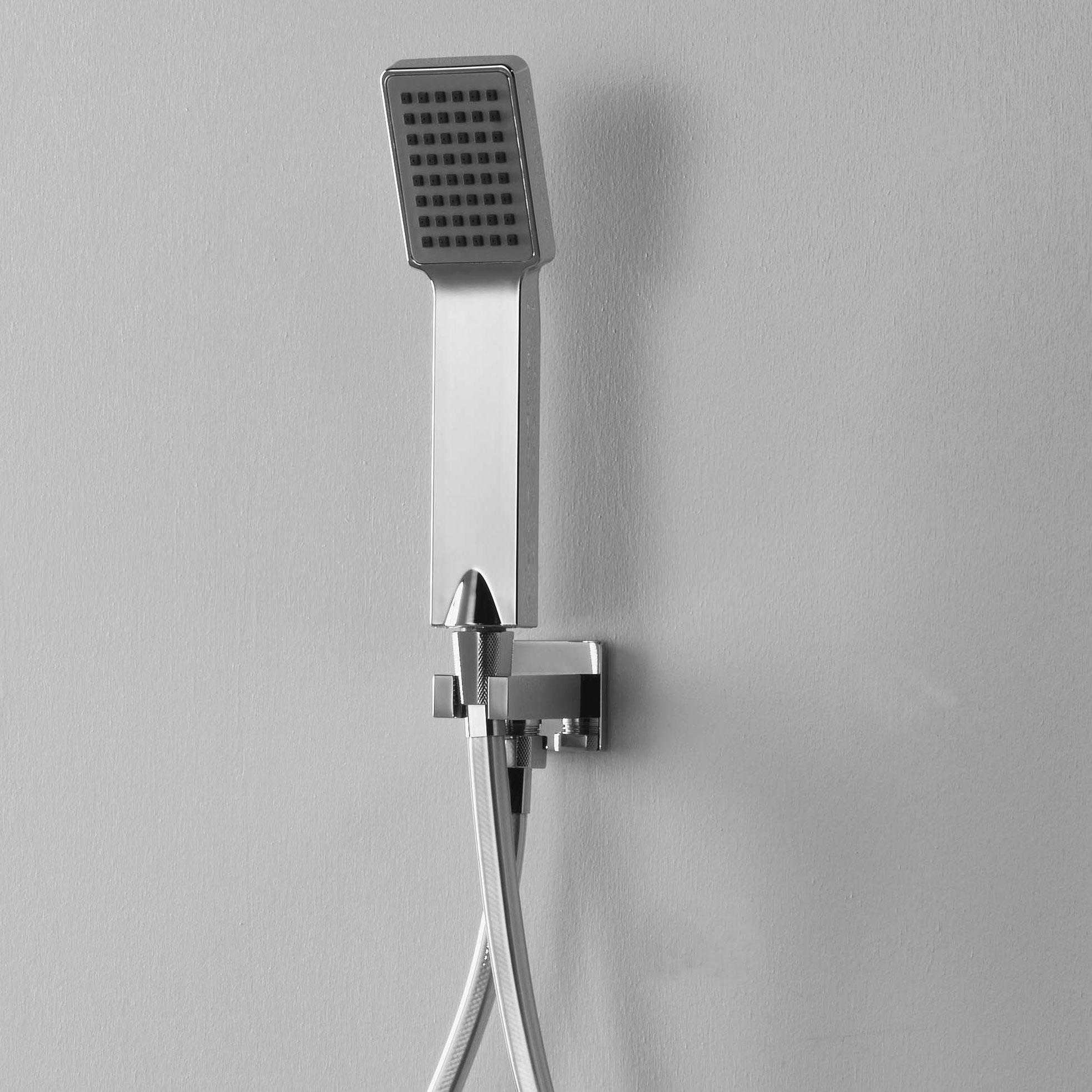 Set duplex ARES con doccetta quadra confort, flessibile quadrato e presa acqua con supporto