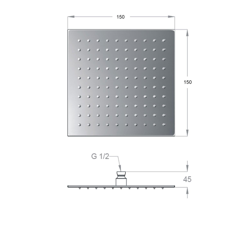 Soffione doccia Ares quadrato 15x15 cm ultraslim in acciaio inox con braccio doccia
