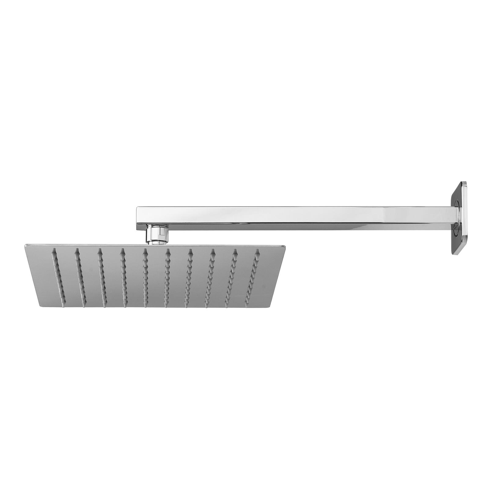 Soffione doccia quadrato ultraslim di Ares 25x25 con braccio doccia in acciaio inox lucidato
