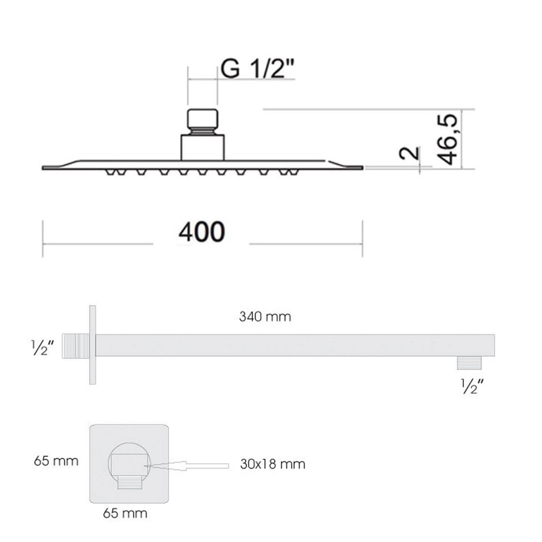 Soffione doccia quadrato ultraslim 40x40 cm con braccio doccia in acciaio inox lucidato Ares