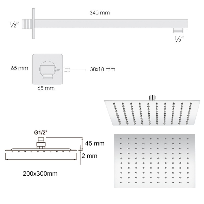 Soffione doccia rettangolare ultraslim 30x20 cm con  braccio doccia in acciaio inox lucidato di Ares