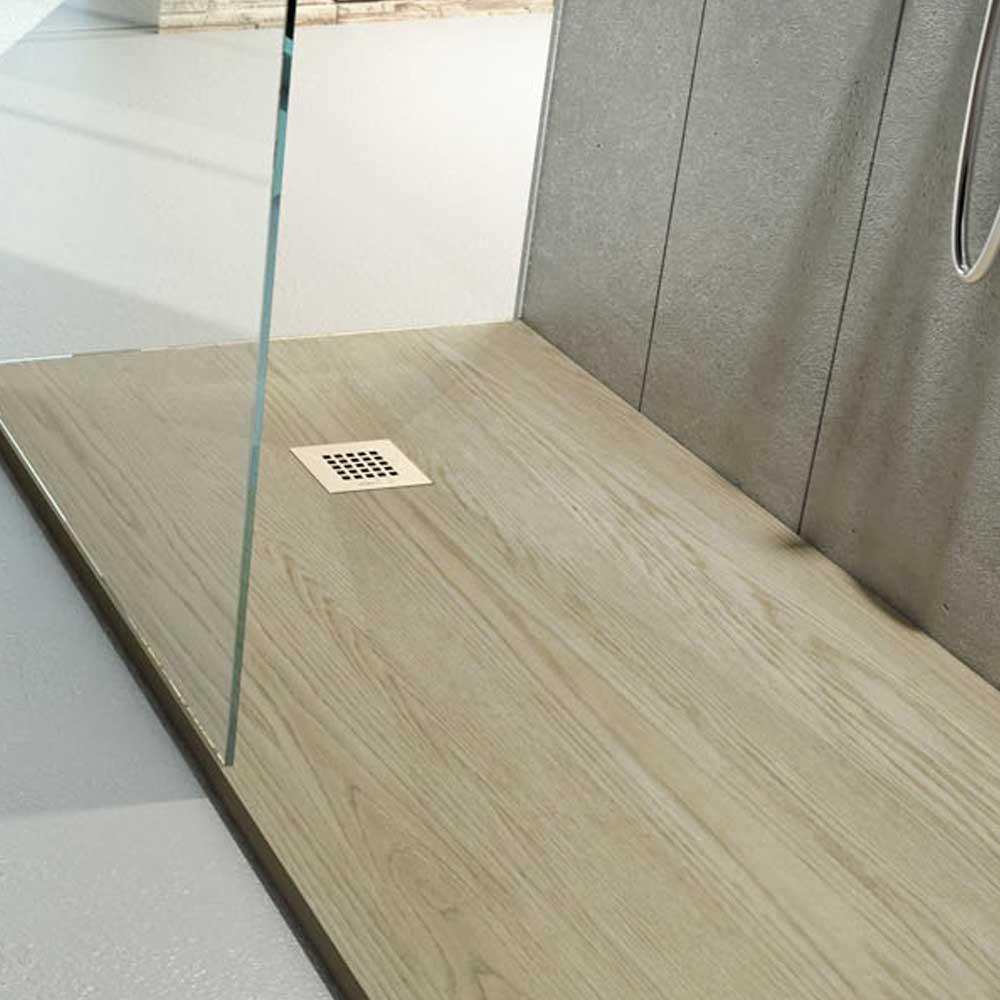 Piatto Doccia 80X110 effetto legno realizzato in marmo resina Relax Design Rocky Wood Essence