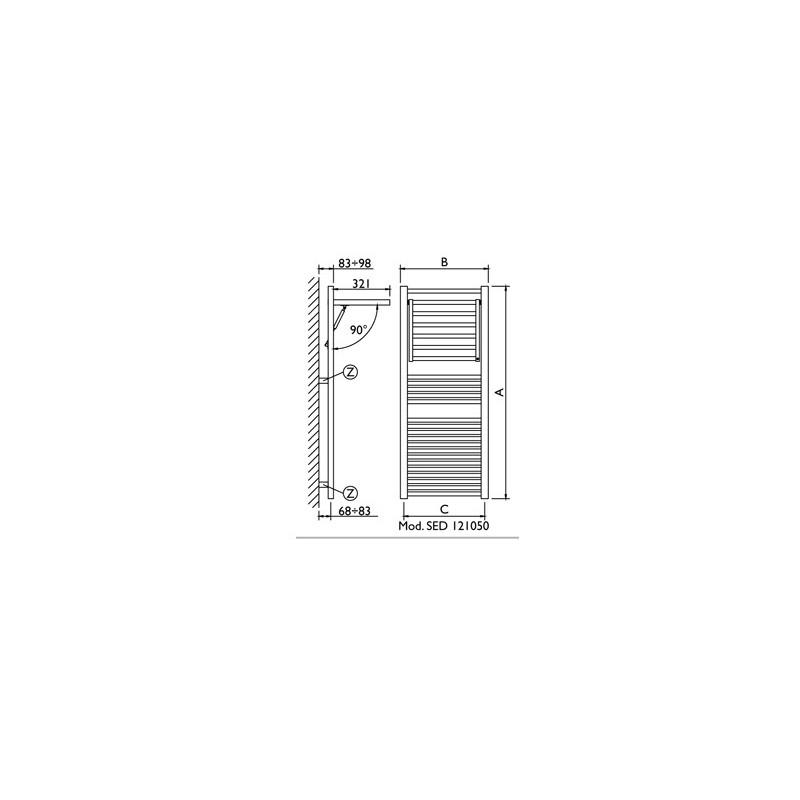 Termoarredo scaldasalviette bianco Deltacalor Dinamic 1209x500 con stendino