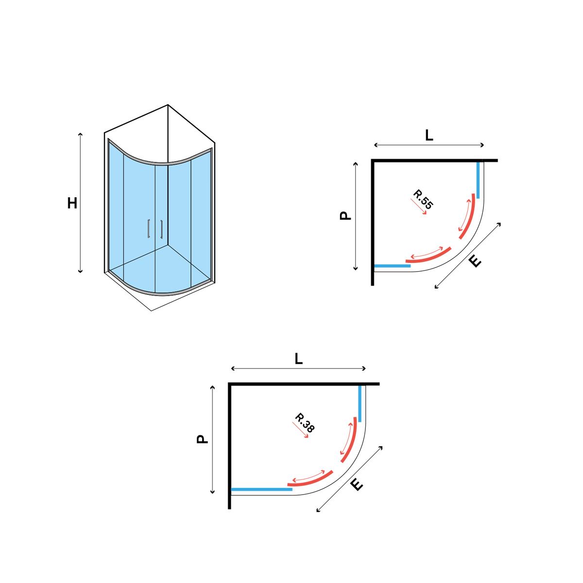 Box doccia circolare asimmetrico 70x90 apertura scorrevole cristallo trasparente 6 mm