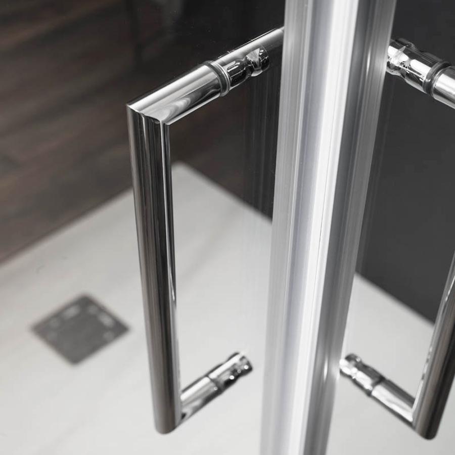 Box doccia circolare asimmetrico 80x100 apertura scorrevole cristallo trasparente 6 mm