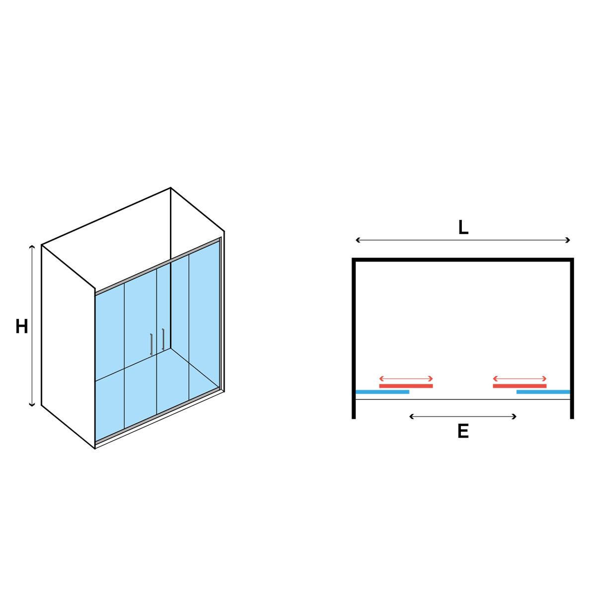 Porta Doccia Scorrevole 2 ante 150 cm in cristallo trasparente 6 mm Hera