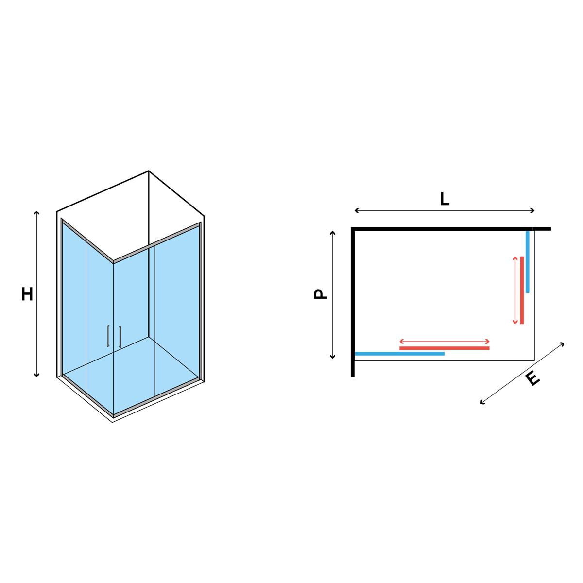 Box doccia angolare scrorrevole 100x70 cm in cristallo opaco 6 mm