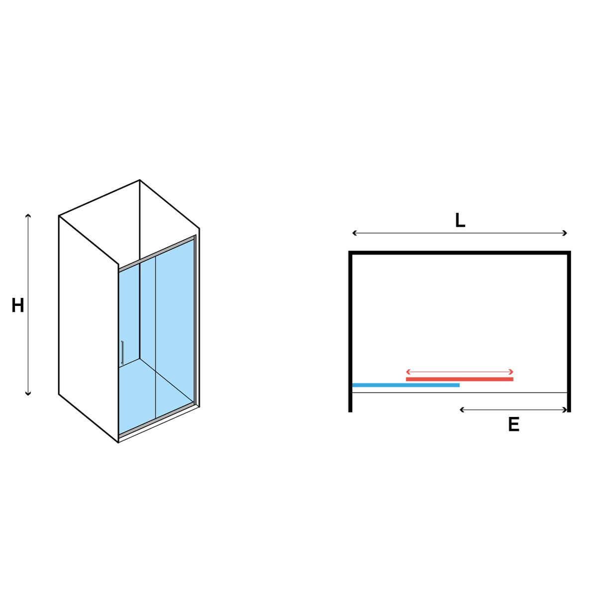 Porta Doccia Scorrevole 100 cm in cristallo opaco 6 mm