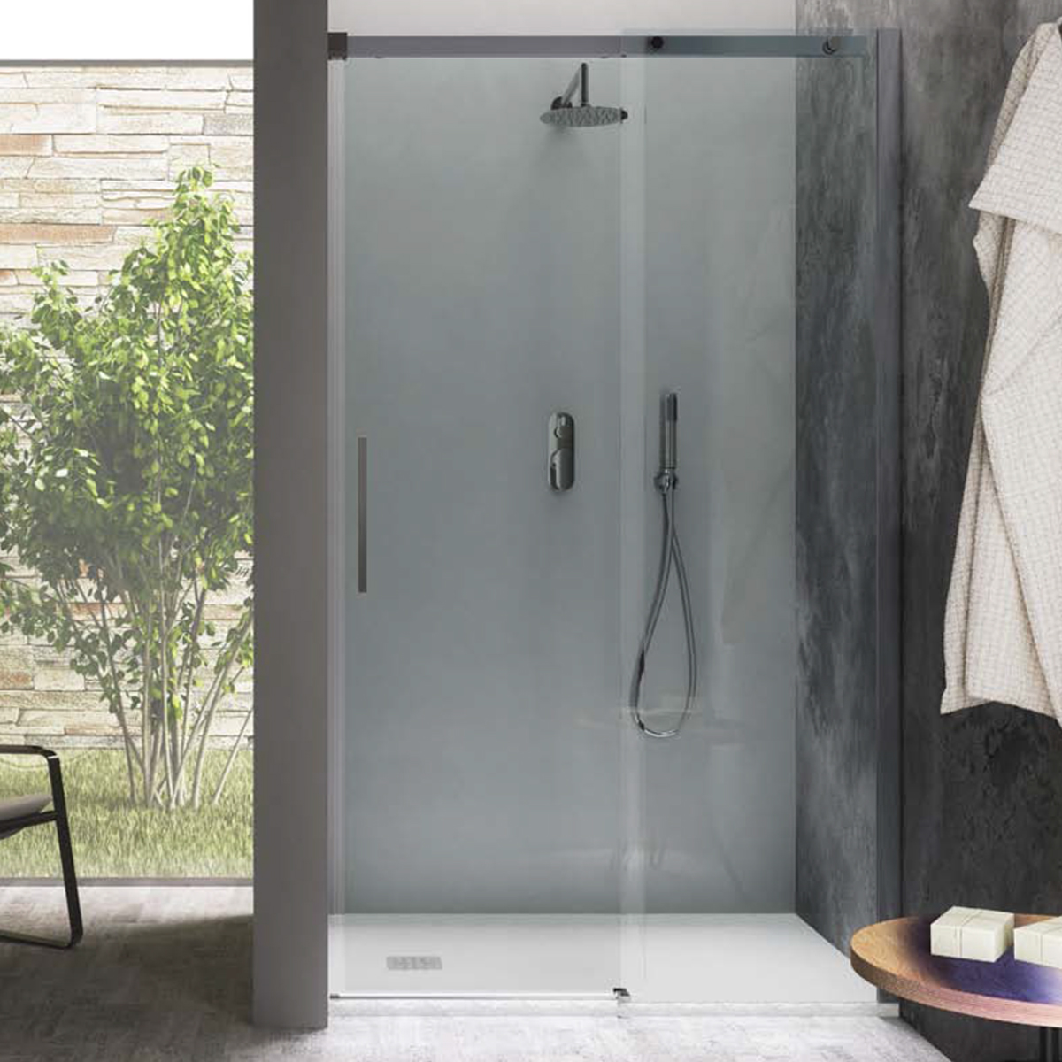 Porta doccia scorrevole 100 cm in cristallo trasparente 8 mm temperato