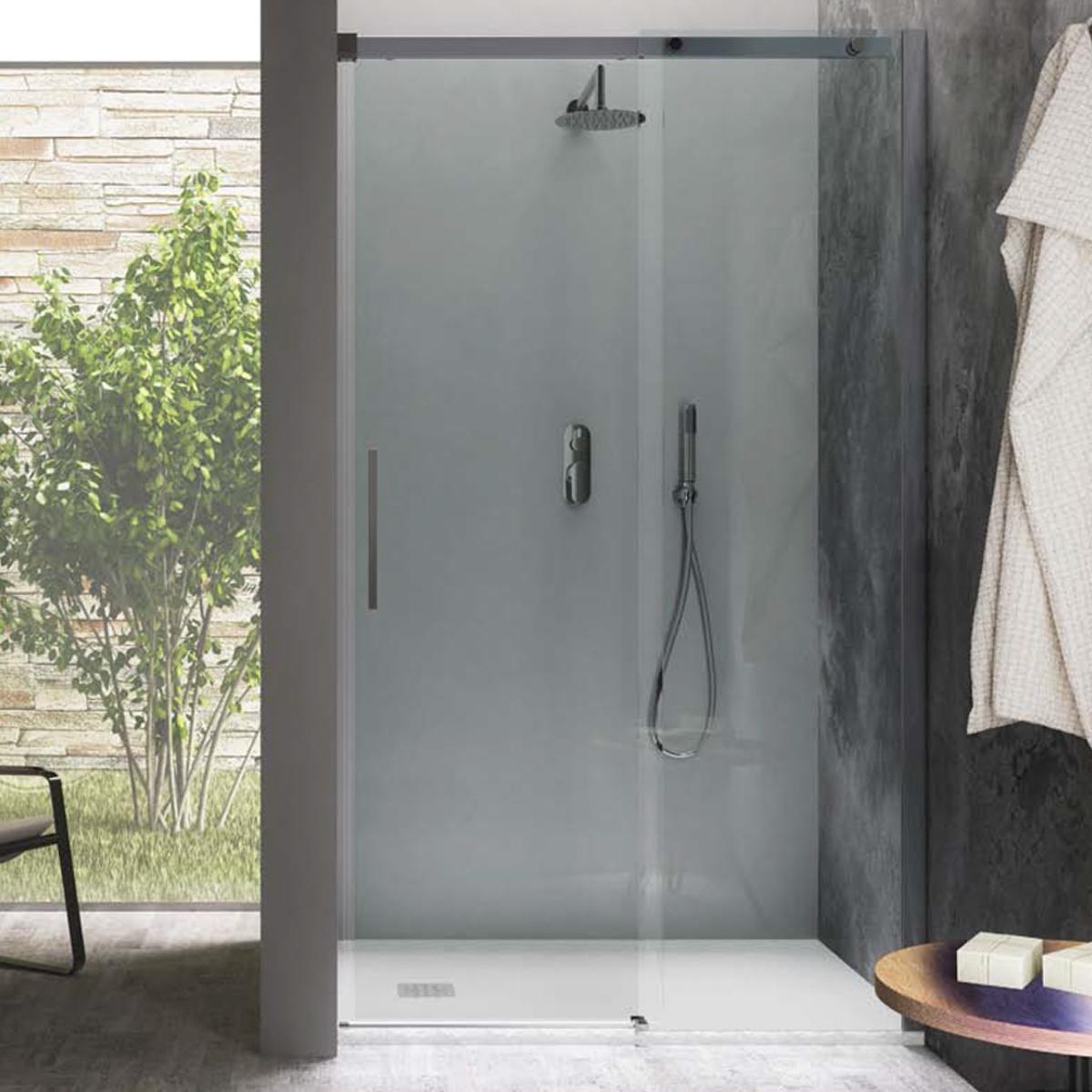 Porta doccia scorrevole 140 cm in cristallo trasparente 8 mm temperato