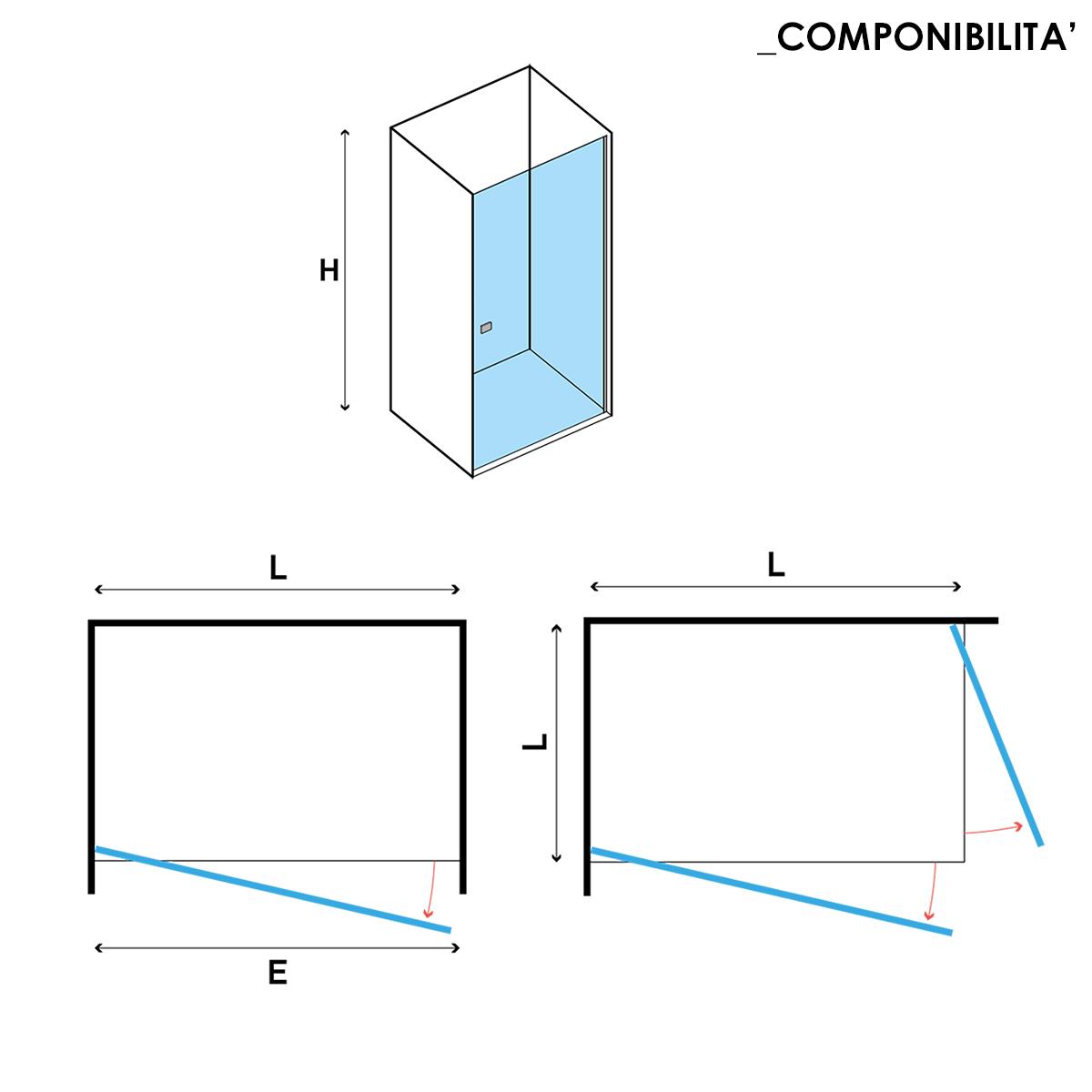 Porta doccia apertura Battente da 70 cm cristallo trasparente 6 mm temperato