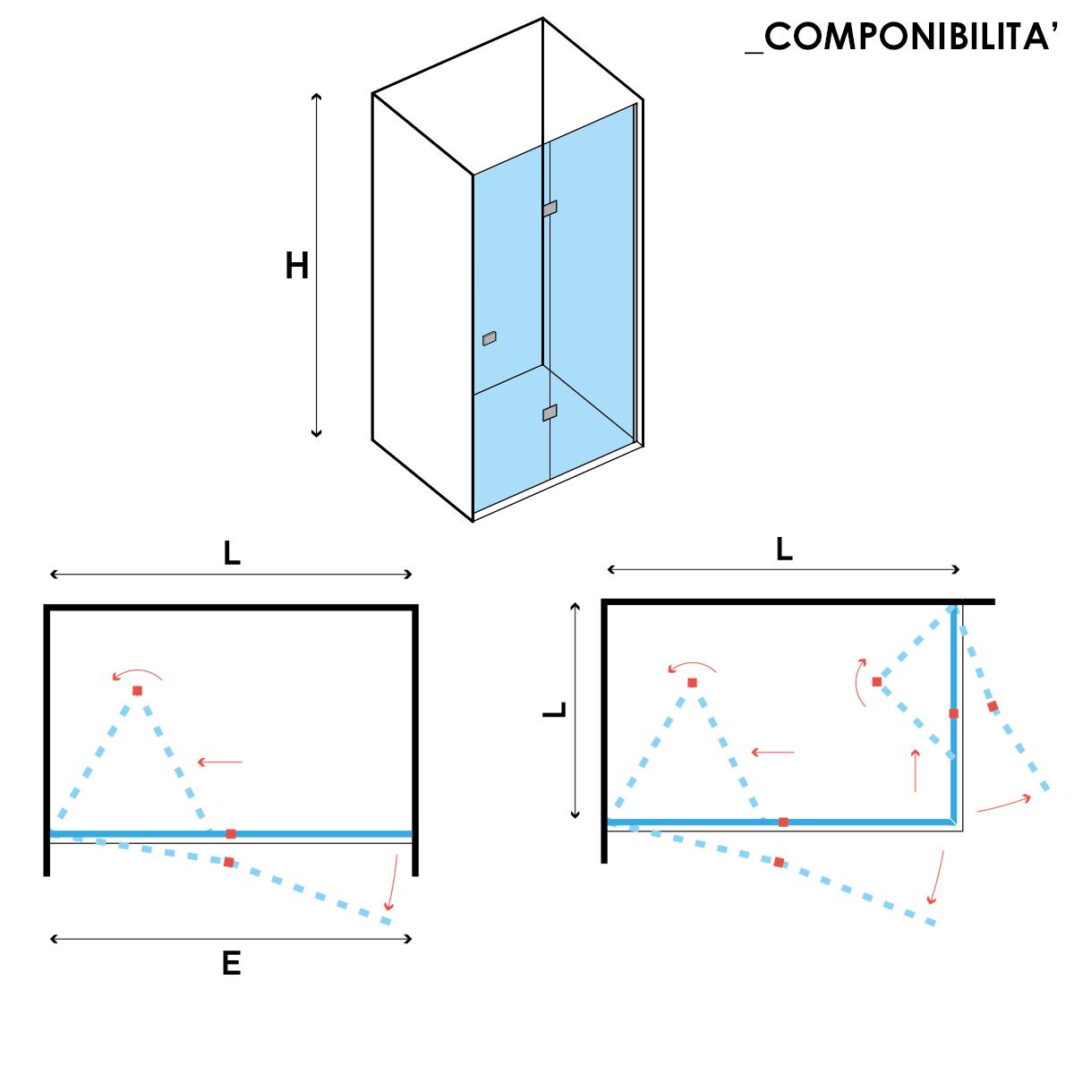 Porta doccia apertura Soffietto da 80 cm cristallo trasparente 6 mm temperato
