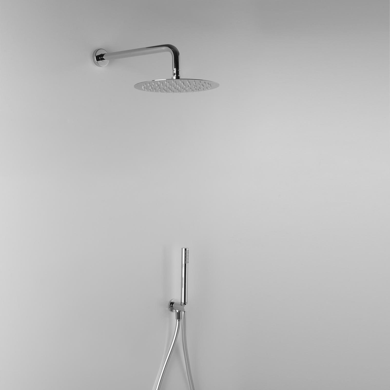 Set doccia tondo Ares con soffione diametro 25 cm, braccio doccia e kit diplex
