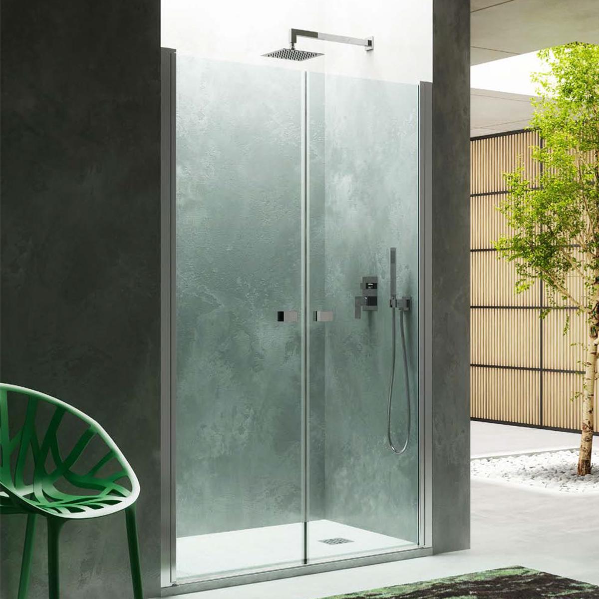 Porta doccia apertura saloon da 115 cm cristallo trasparente 6 mm temperato