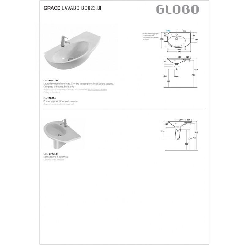 Lavabo Sospeso Ceramica Globo Modello Grace asimmetrico DX