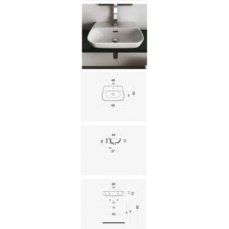 Lavabo da Appoggio o Sospeso Domus Falerii F50 Small