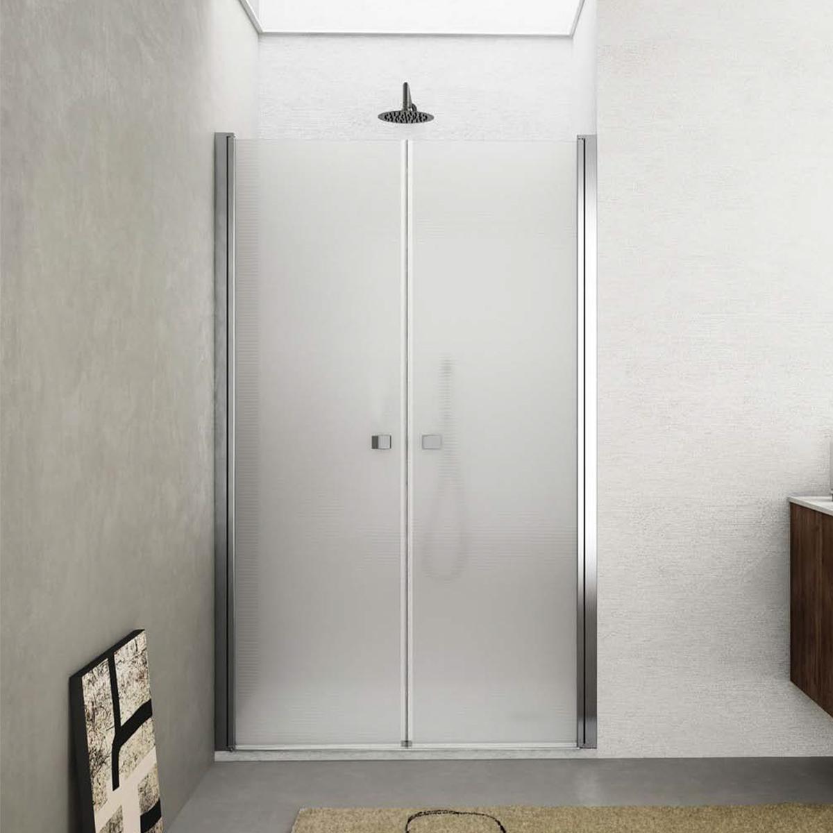 Porta doccia apertura saloon da 100 cm cristallo opaco 6 mm temperato