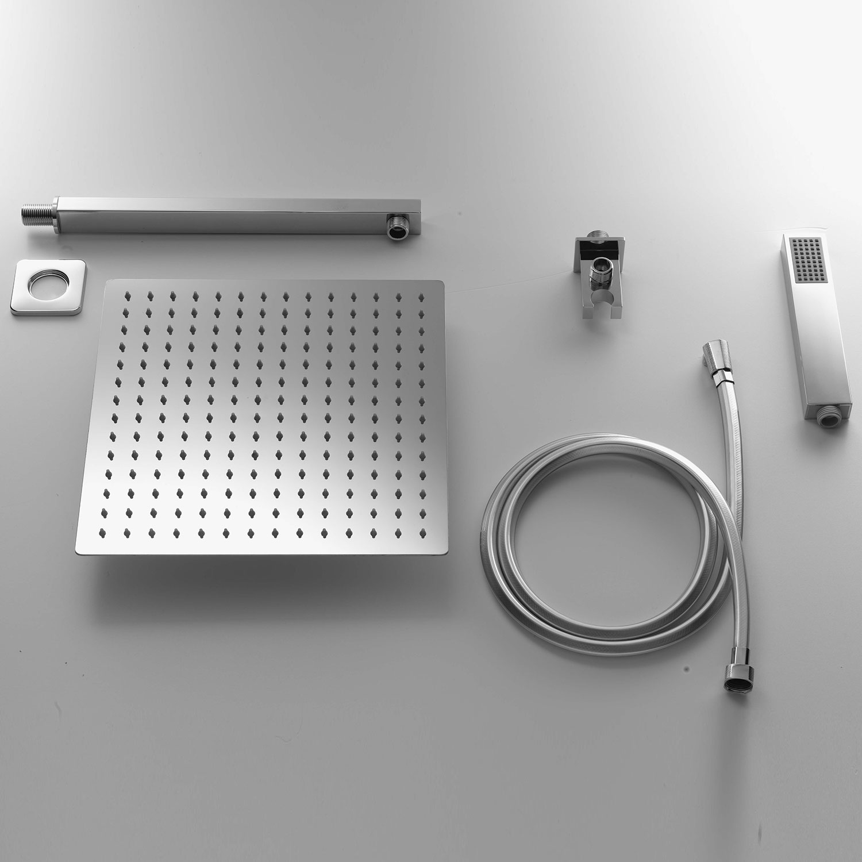 Set doccia Ares soffione quadro 20x20 con  braccio doccia e  kit duplex