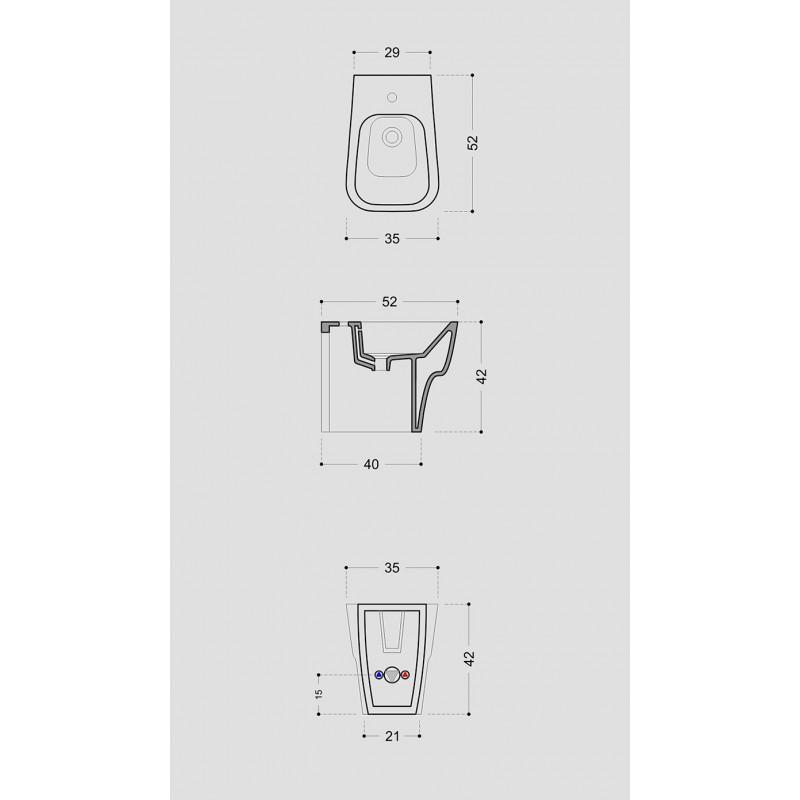 Sanitari Filo parete Ceramica Domus Falerii F50 Small WC BIDET SEDILE SOFTCLOSE