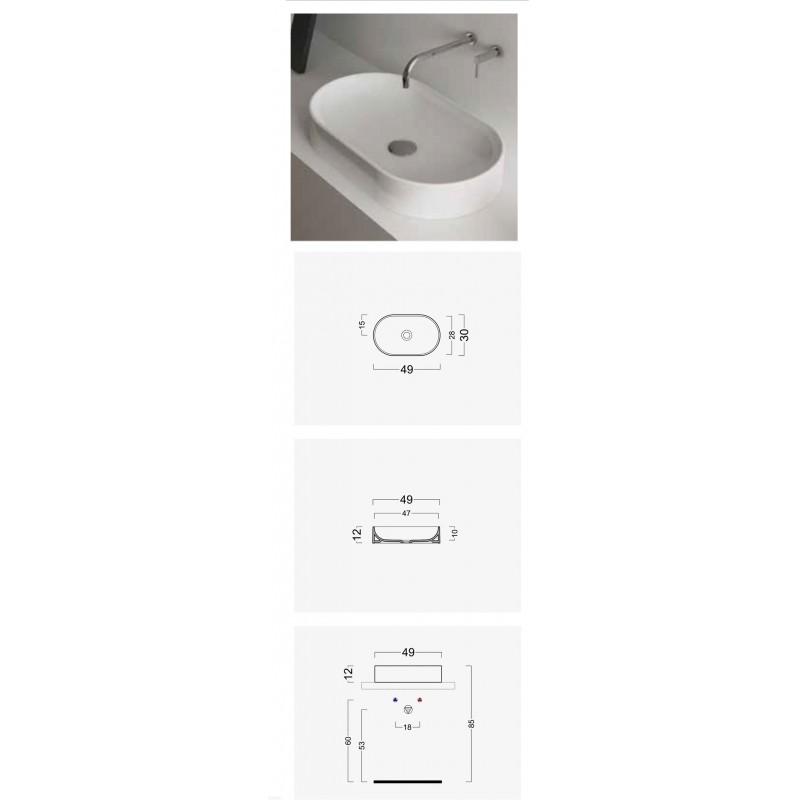 Lavabo da appoggio ovale Domus Falerii 30x49 cm design moderno