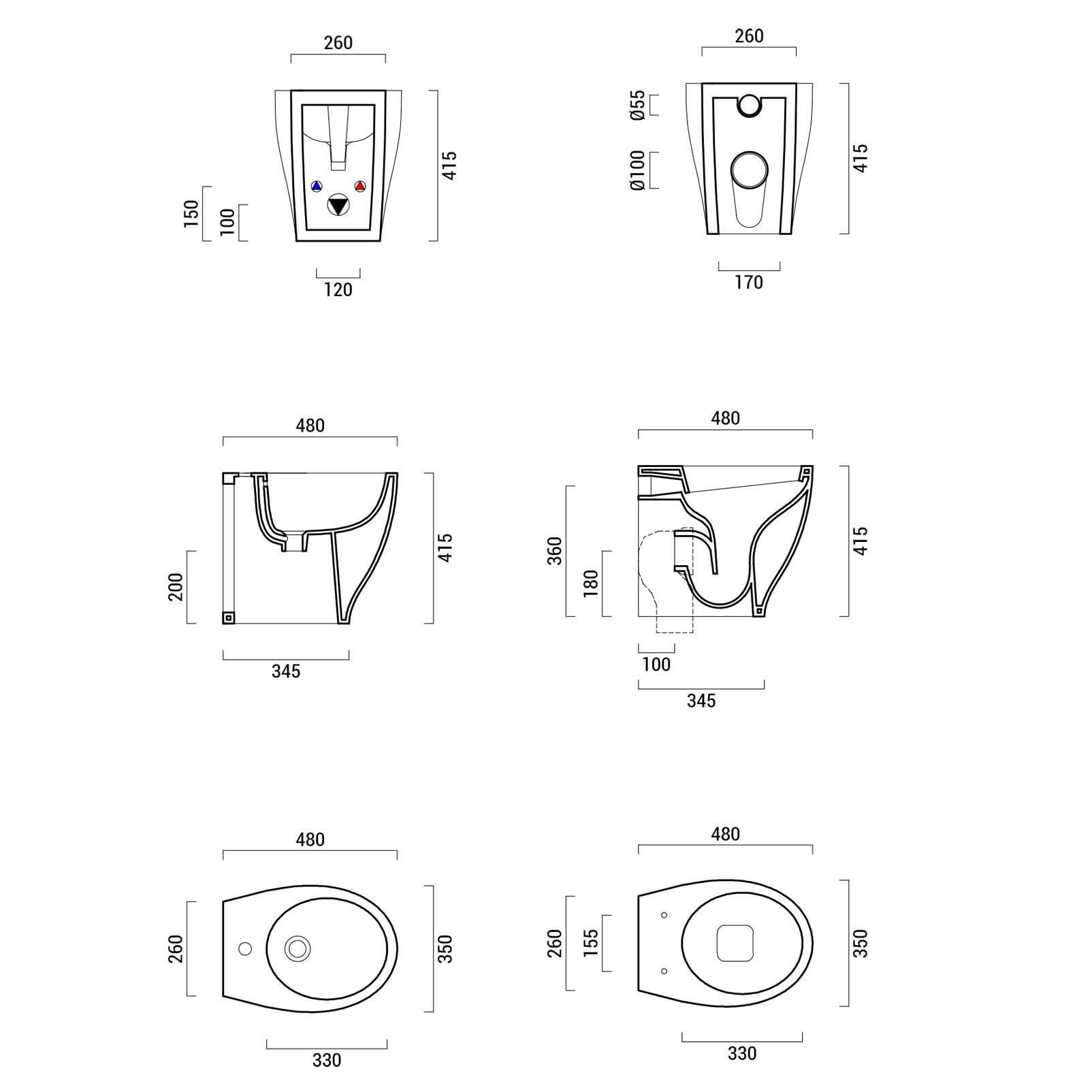 Sanitari Filo Muro Moderni Ceramica Domus Falerii Mascalzone sedile SoftClose