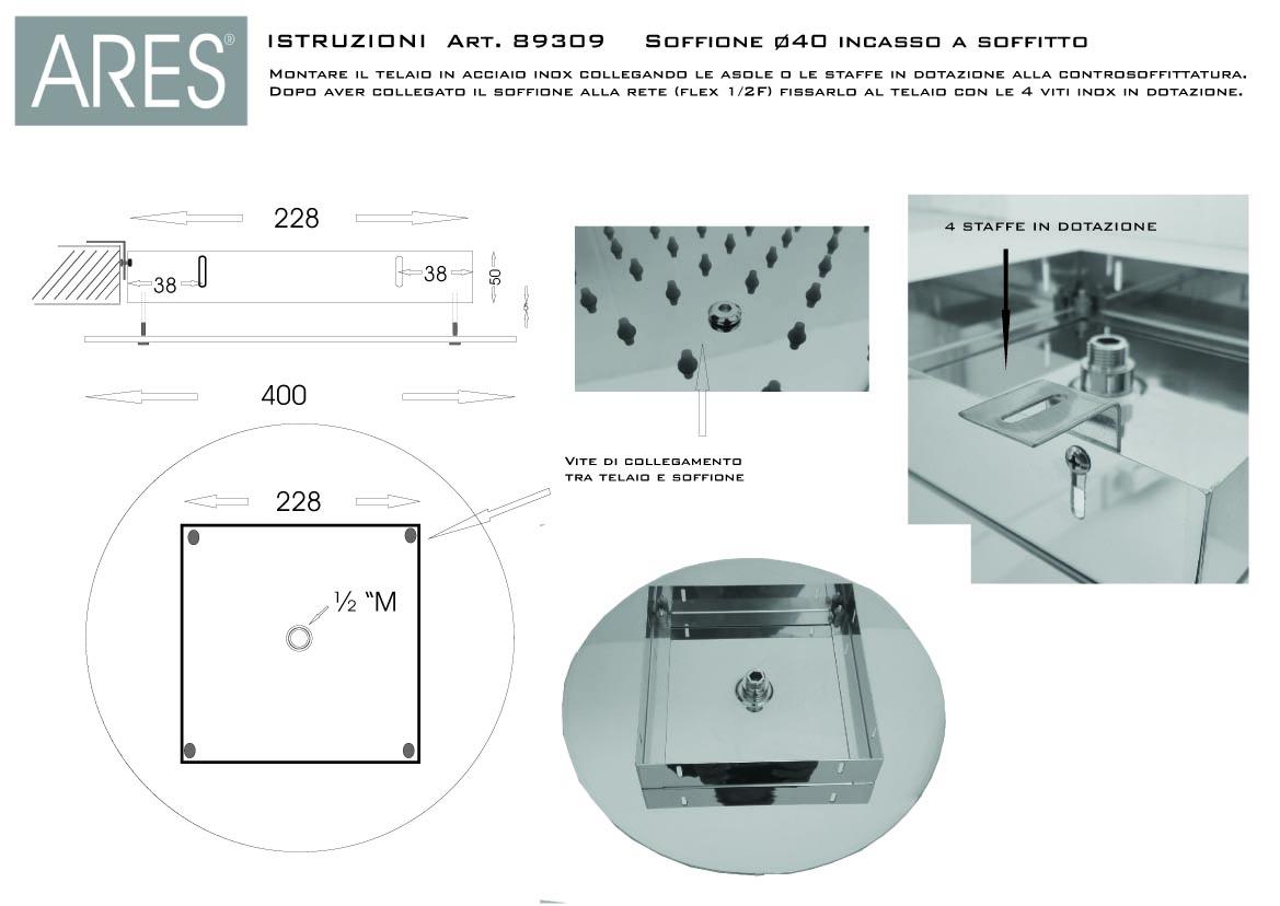 Soffione doccia a soffitto tondo diametro 40 cm in acciaio inox