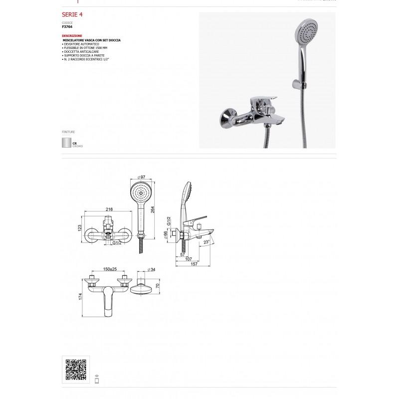 Miscelatore vasca duplex con doccetta FIMA Carlo Frattini Serie 4