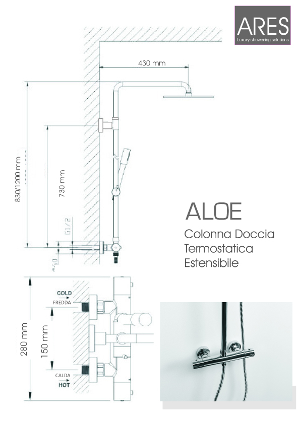 Colonna doccia termostatica Ares Aloe con soffione tondo diametro 20 cm telescopica