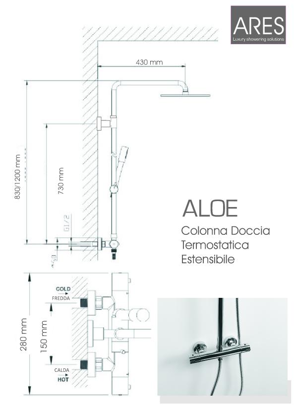 Colonna doccia termostatica e telescopica Ares Aloe con soffione tondo diametro 25 cm