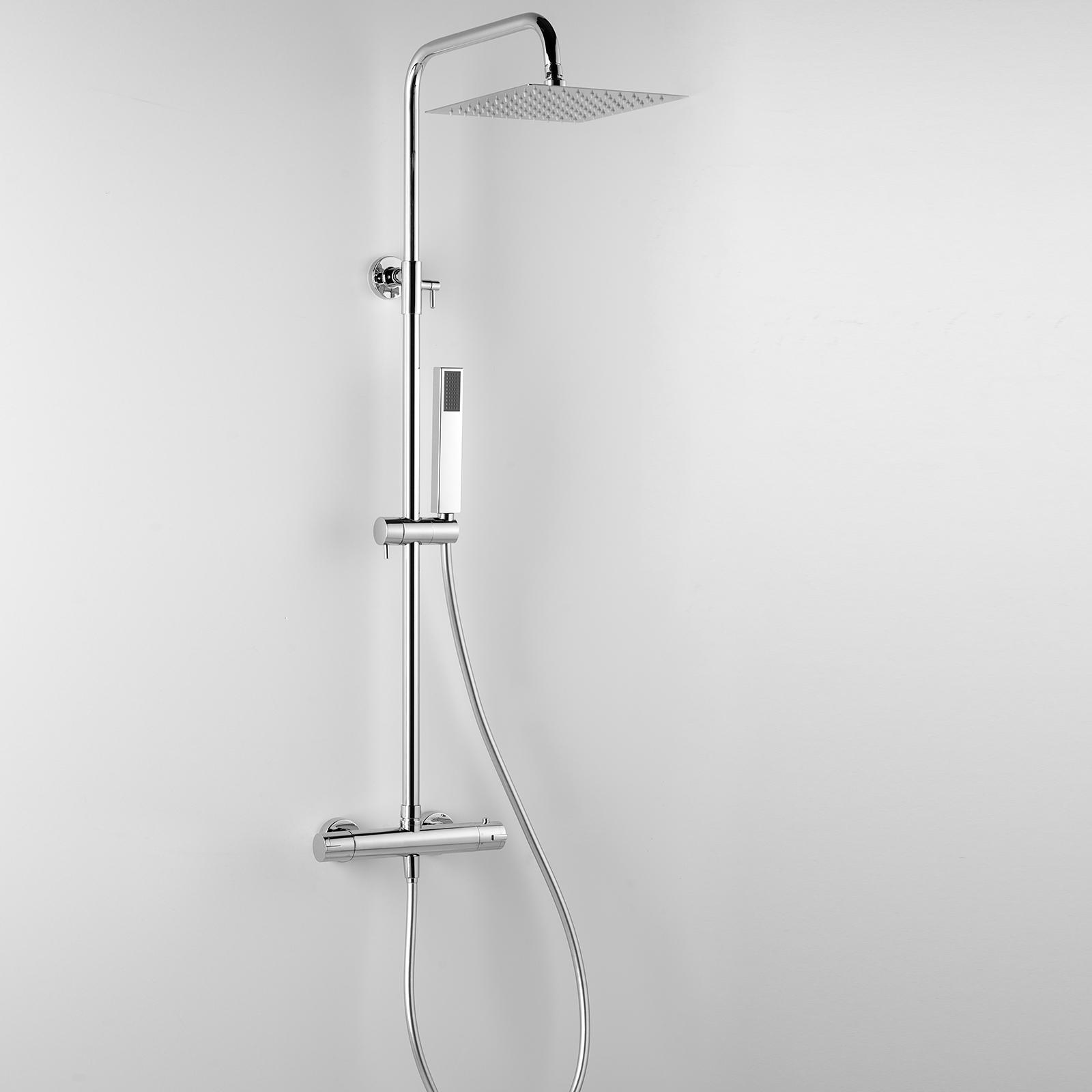 Colonna doccia termostatica Ares Aloe con soffione quadrato 20x20 cm telescopica