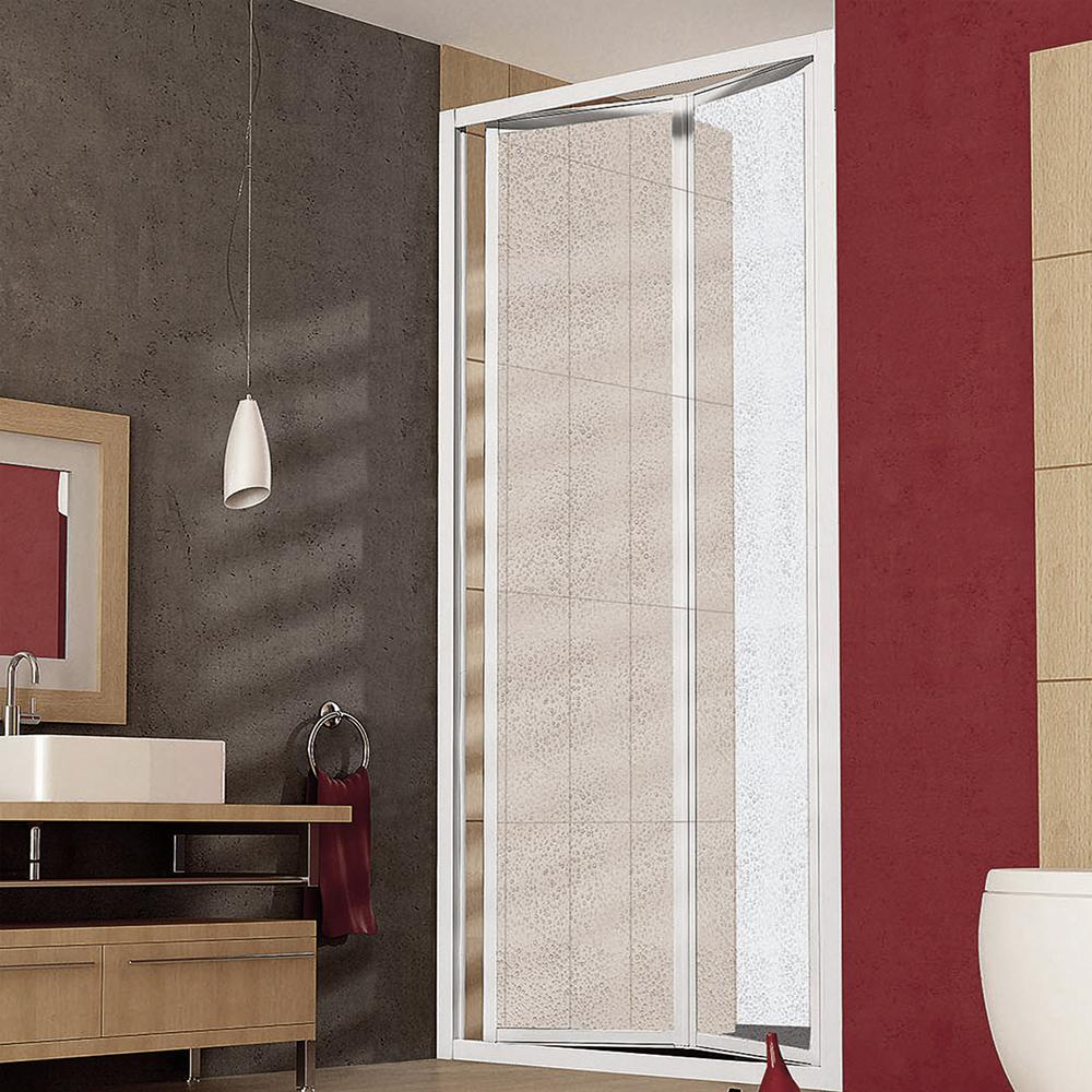 Porta doccia apertura a libro per nicchia da 75 cm in alluminio e acrilico
