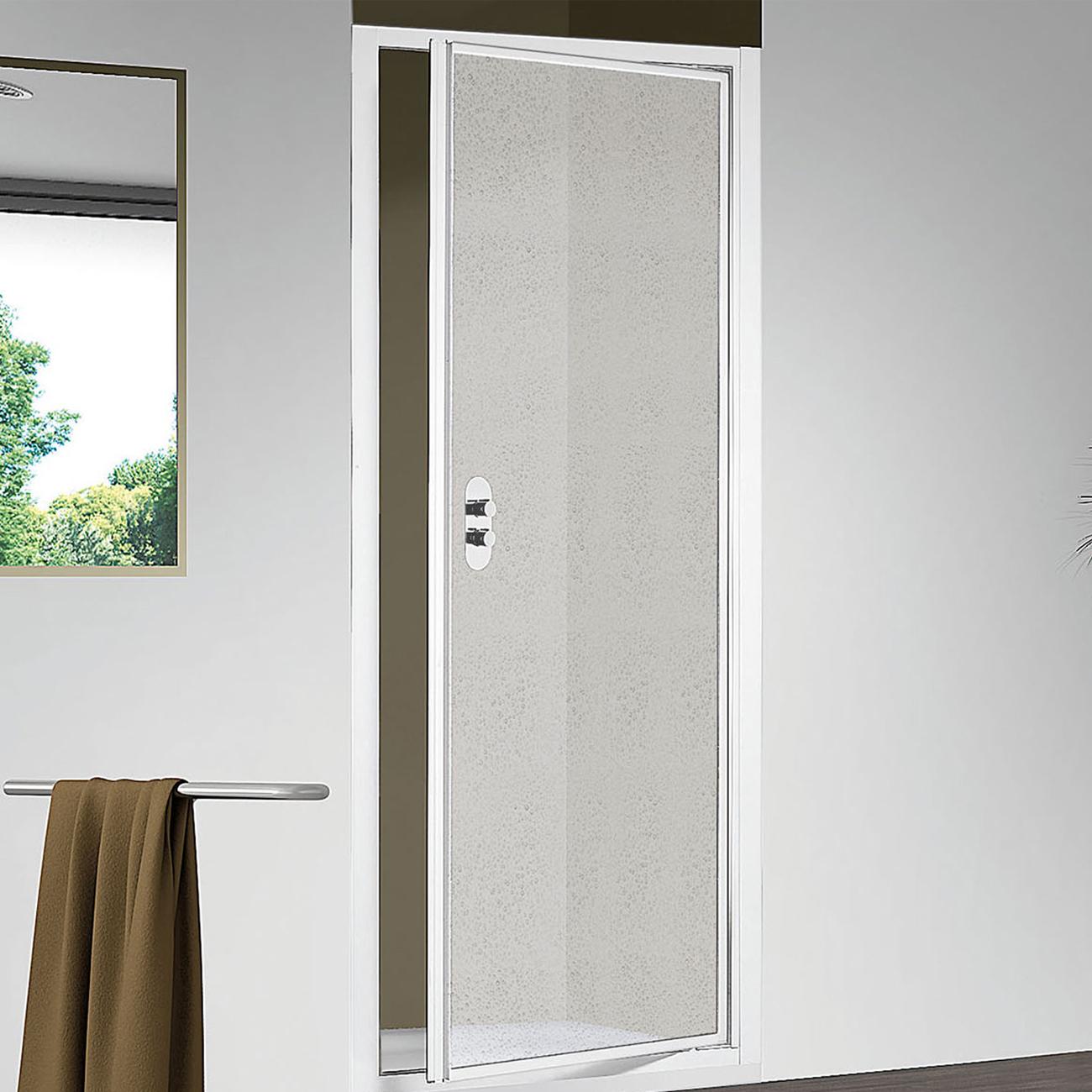 Porta doccia apertura battente per nicchia da 75  cm in alluminio e acrilico