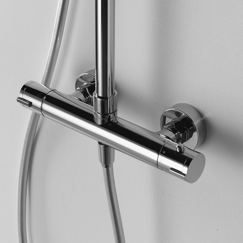 Colonna doccia termostatica Ares Aloe con soffione quadrato 25X25 cm telescopica