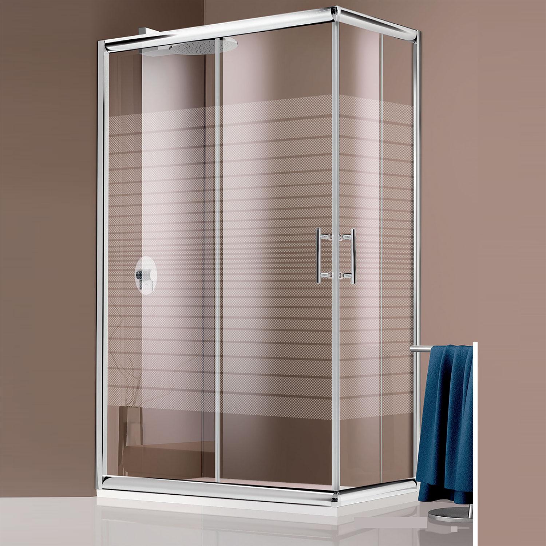 Box doccia angolare in cristallo serigrafato da 6 mm 90x90 profilo cromo brillante