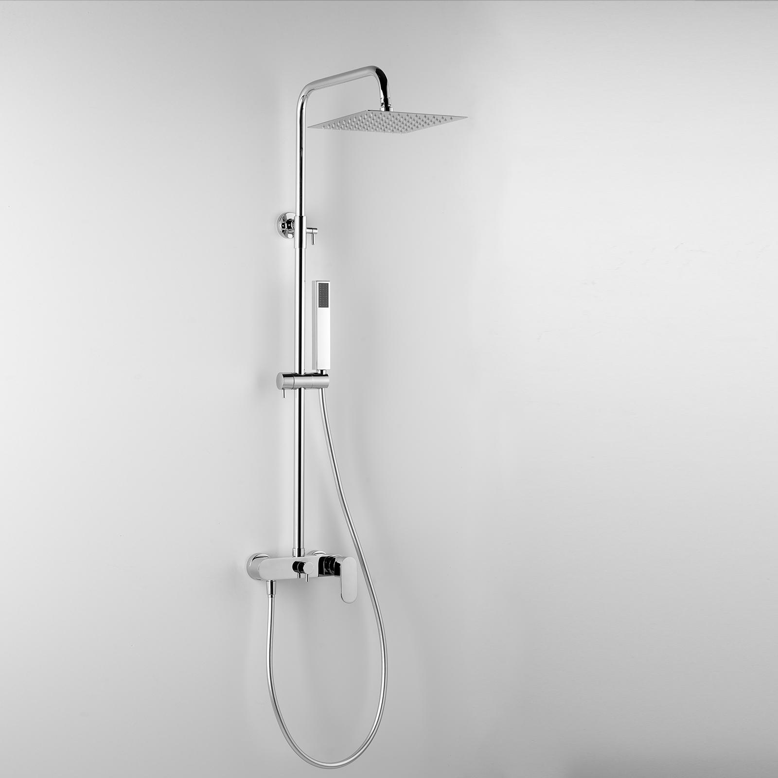 Colonna Doccia Tonda ARES Argo con soffione quadrato 25x25 cm miscelatore con deviatore incorporato