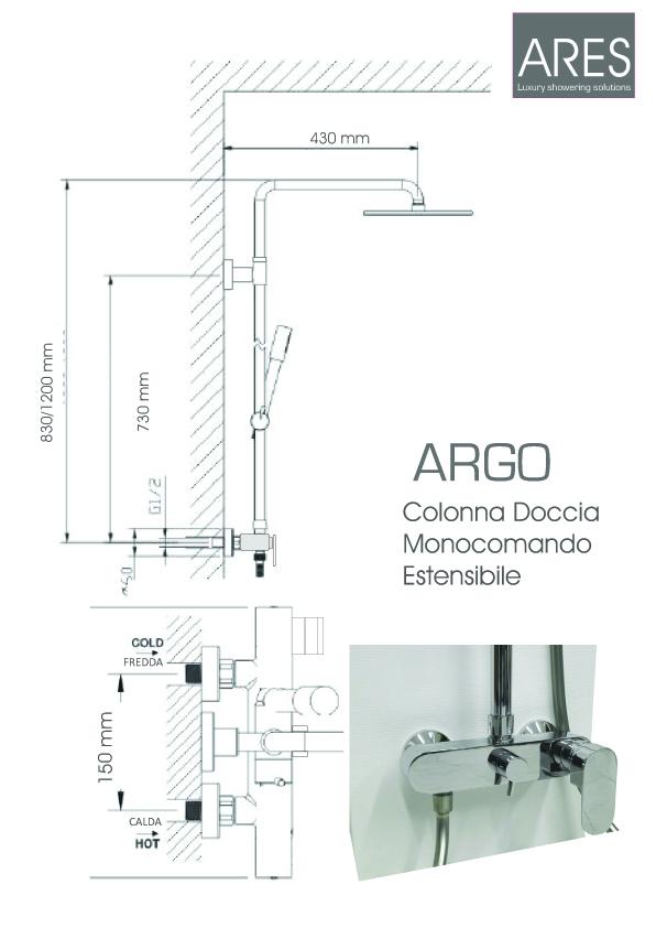 Colonna Doccia Tonda ARES Argo con soffione quadrato 20x20 cm miscelatore con deviatore incorporato