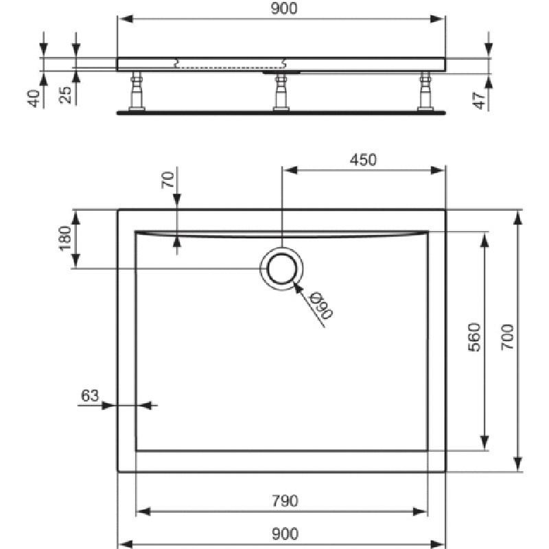 Piatto Doccia In acrilico Ultra Flat 90x70 H4 Ideal Standard