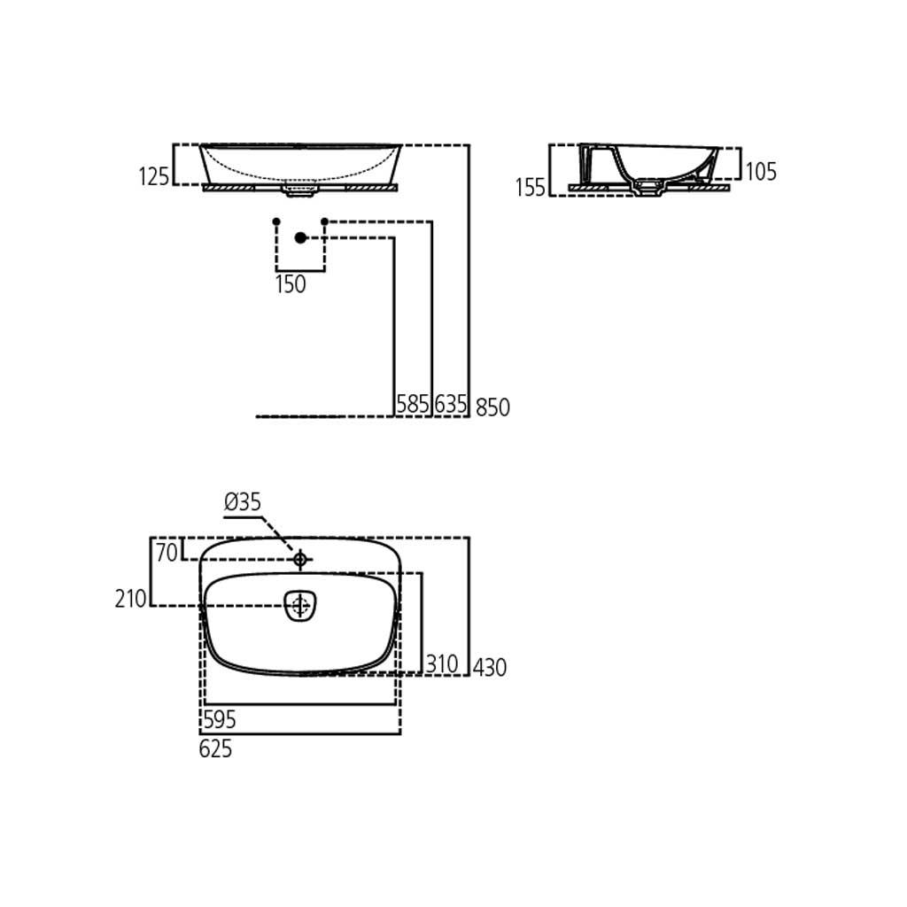 Lavabo da Appoggio Ideal Standard Modello DEA T044501 con foro rubinetto