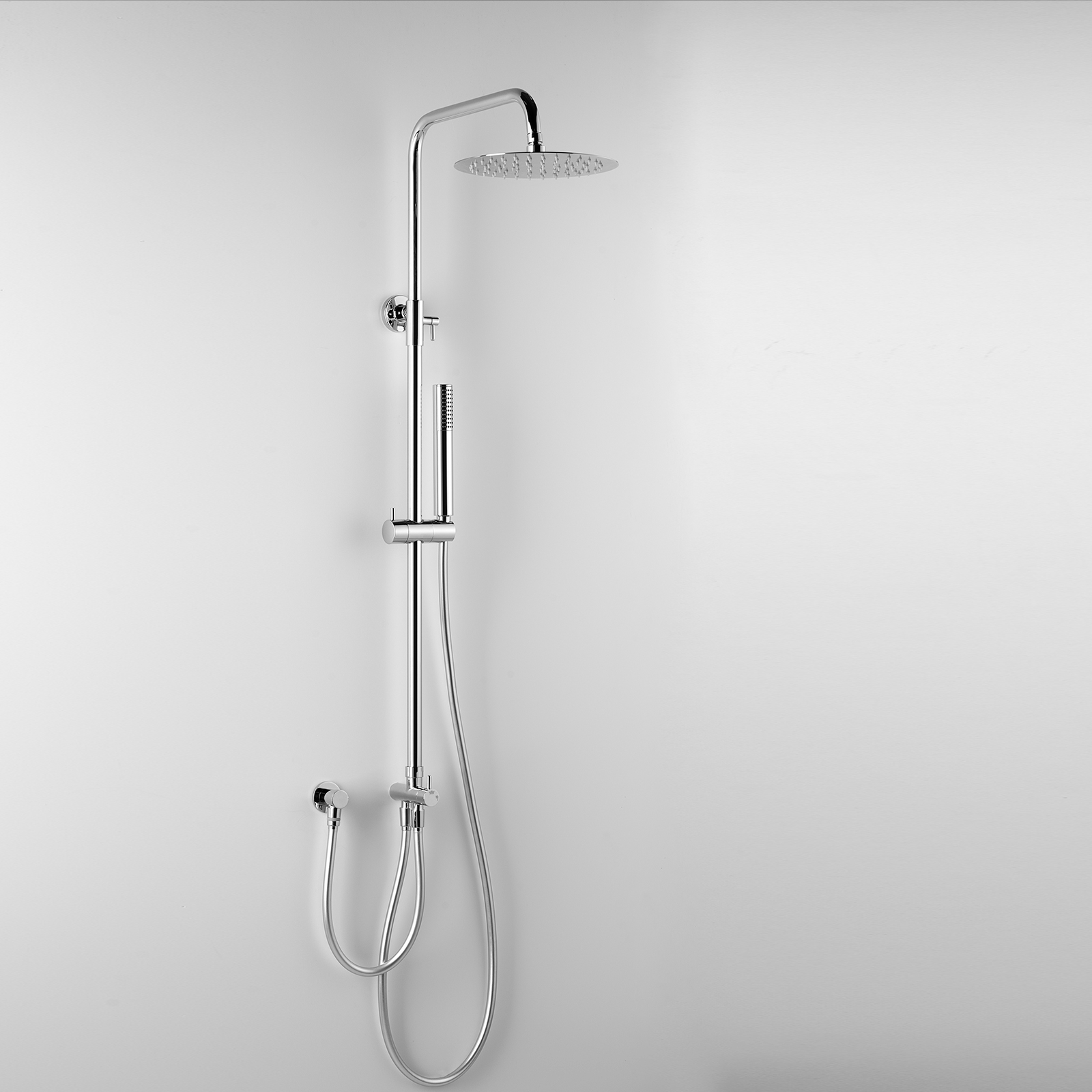Colonna Doccia a Ponte ARES modello Eros con soffione tondo in metallo d.25 cm Design Minimale