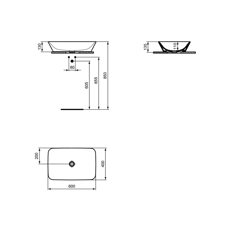 Lavabo da appoggio 60X40 con bordo ultra sottile Ideal Standard Connect Air